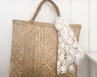 Vintage straw tote french market bag beach tote handbag
