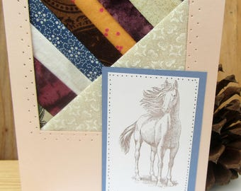 Greeting Card-Horse Quilted Greeting Card-Horse Greeting Card-Quilted Greeting Card-Quilted Card-Horse Note Card- Blank Greeting Card