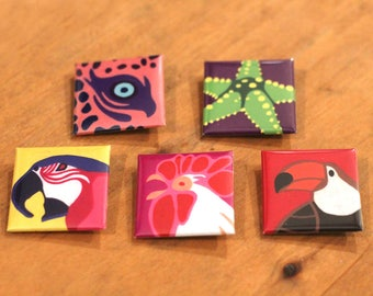 36 Species - Illustrated Animal Badges