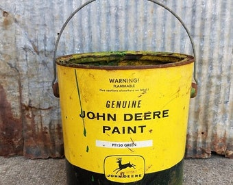 ON SALE Vintage John Deere Paint Can, Empty Can, Four Legged Deer, Collectible, John Deere Green, No Lid, Tractor, Farm, Storage, Decorative