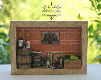 """Dollhouse miniature awesome thematic frame/roombox """"In Vino Veritas """" OOAK"""