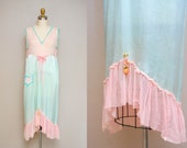 Vintage 20s Pink + Blue Lingerie / 1920s Silk + Chiffon Slip Nightgown / Medium