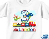 SALE Personalized Transportation Airplane Plane Car Helicopter Train Birthday Party Shirt Boys 1st First 2nd 3rd 4th 5th 6th Birthday Party