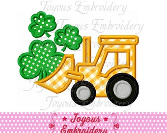 Instant Download St.Patrick's Day Bulldozer With Clover Applique Machine Embroidery Design NO:2443