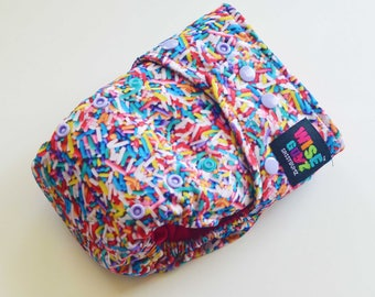 Wise Guyz Sugar Strands One Size Pocket/AI2 Cloth Diaper- Hot Pink AWJ Lining