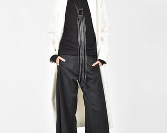 NEW Winter White Single button cashmere coat /Side Pockets Maxi Coat /HandMade by Aakasha A90141