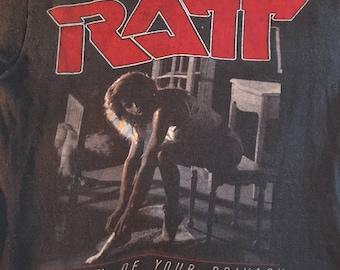 Authentic Vintage Screen Stars Ratt Invasion of Your Privacy 1985 Concert Tour Tee Men's L/XL