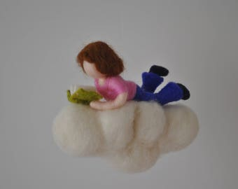 Girl on the cloud Girls Room Decor needle felted Waldorf inspired mobile : Girl  reading a book
