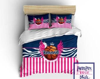 Back to School Sale Custom Basketball Bedding Monogrammed Basketball Comforter Basketball Bedding Decor Zebra and Stripe Basketball Customiz