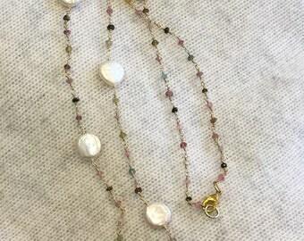 Multi Gemstone Pearl Necklace