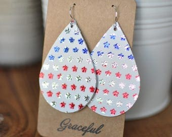 Red, White and Blue Leather  Teardrop Earrings, Handmade, Stars, Patriotic