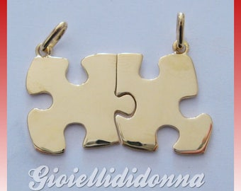 Ciondolo Puzzle in Argento 925 DORATO oro 18 kt - Pendent Puzzle  Silver sterling