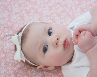 Faux Leather Bow - Baby Girl Headband - Faux Leather Headband - Newborn Bows - Baby Bow Headbands - Coming Home Headband - New Baby Headband