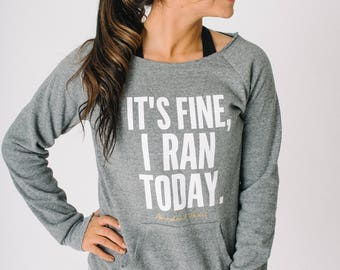 Ran Today Wide Neck Sweatshirt ~ Funny Runner ~ Run Gift Ideas