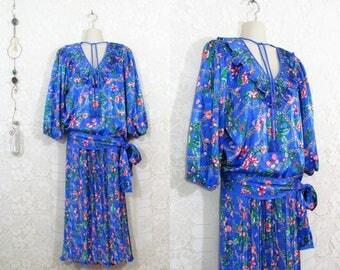 Vtg 80s Diane Freis Two-Piece Periwinkle Butterfly Ruffled Bohemian Dress