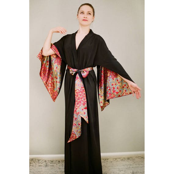 One ready-made black long 'Haiku' robe in faux silk crepe. Vintage Bohemian Boudoir Pinup Kimono Femme Fatale Lingerie Gift for her. US 4-6.