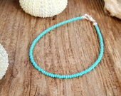 sea foam anklet boho beach surfer vacation holiday wear aqua green seed bead