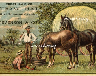1800s  VictorianTrade Card, Straw Hats by Stevenson andCompany #407AW