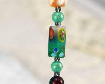 Handmade Hat Pin, Soft Turquoise, Brown, Lampwork Bead (BB)