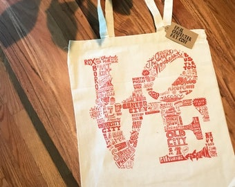 FREE SHIPPING - Philly LOVE -- Paul Carpenter Art -- Tote Bag