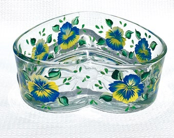 Heart Shaped Bowl Hand Painted Blue and Yellow Pansies, Candy Dish, Decorative Bowl, Home Decor, Bridal Shower Gift, Gifts For Her