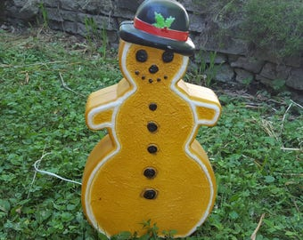 Vintage Union Don Featherstone Blow Mold Gingerbread Cookie Snowman Brown Holiday Lawn Light Up Electric Outdoor Decor Decoration