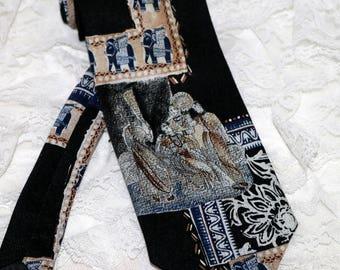 Vintage Parksder Men's Necktie  - Persian Scene - 100% Silk - Hand Made