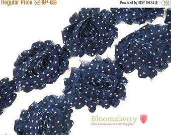 "Summer SALE 10% OFF 2.5"" Printed Shabby Rose Trim - Navy Polka Dots - Polka Dots Shabby Trim - Navy Shabby Rose Trim - Hair Accessories Supp"