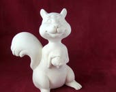 Ceramic Ready to paint Cute Standing Squirrel with an acorn - 9.5 inches - ceramic, ready to paint, bisque, DIY