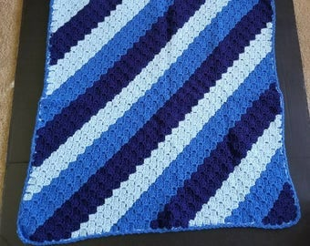 Baby Blanket, Baby Afghan,  Baby Shower Gift, Baby Boy, Blue Colors