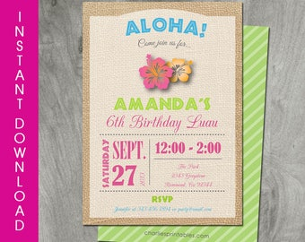 Self Editable, Hawaiian Luau Invitation, 5x7, Instant Download, Party Printable, Personalized, Diy Birthday Invitation, Digital Pdf File