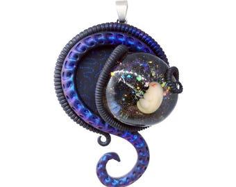 Blue Biomech Entity ~~~ Blue Fetus pendant