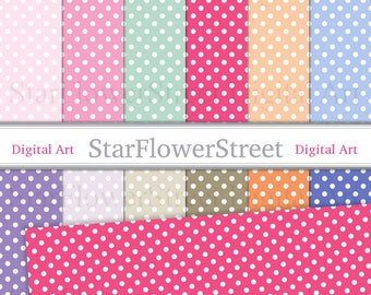 Polka Dot printable scrapbook paper dot pink polka dot paper pattern vintage digital perfect girl background party spring summer