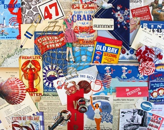 Catch of the Day*Summer Inspiration Kit*Red White Blue Ephemera Paper Pack*Lobster Crabs* Summer Fun*Junk Journal Scrapbook Cards Collage