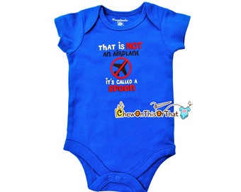 Baby's First Feeding Short Sleeve Blue Statement Onesie -That's Not An Airplane It's Called A Spoon
