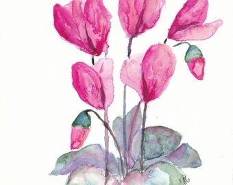 Watercolor Cyclamen Painting Flowers Watercolor Original Painting Small Art Floral Gift for Her Unique Aquarelle Art Gift for Grandma