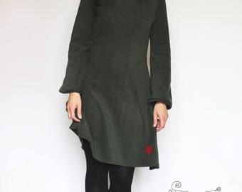 bark dark green fleece dress