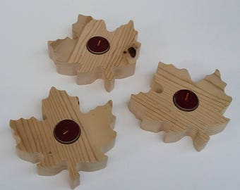 Maple Leaf Shaped Reclaimed Wood Rustic Candle Holders Recycled Barn Wood Tealight Candle holder - Set of 3