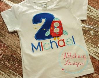 Space Birthday Shirt - Rocket Ship Birthday Shirt -  Custom Tee Personalized Birthday Tee 4a