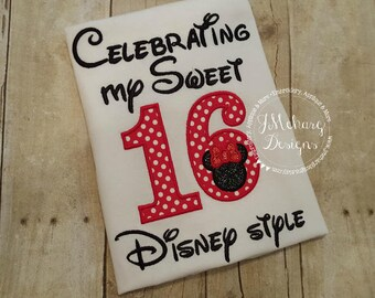 Disney-Inspired Birthday Shirt - Sweet 16 - Custom Birthday Tee 802c white