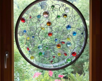 Big Circle Suncatcher, YANG, Spiral, Contemporary Abstract Glass Panel, window, Blue, Green, Yellow, Red, 24,80 inches