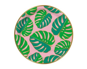 Monstera Leaf Paper Plates - pack of 8 - birthday party paper plates luau tropical palm frond flamingo