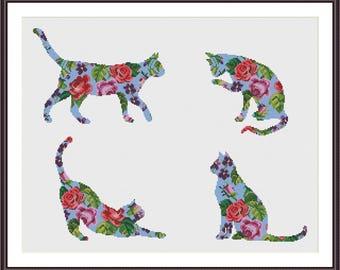 Floral Cat cross stitch pattern - set of 4 patterns - Instant Download PDF