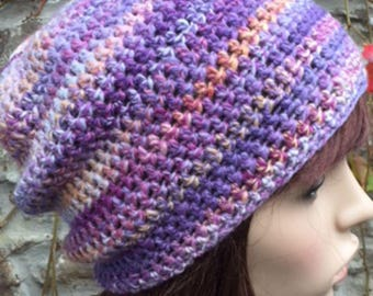 Crochet Hand Spun Shetland Wool Hat in Pastel Pinks/Lilacs/Blues