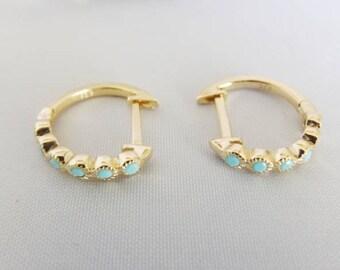 Turquoise earrings, turquoise hoops, turquoise jewelry, minimalist earrings, gemstone earrings, huggie earrings, gold hoops