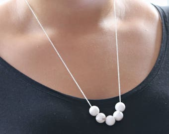White Howlite Long Necklace - Round White Stone Necklace - Silver or Gold -Elegant Simple - Gift for Her - Summer Necklace - Summer Style