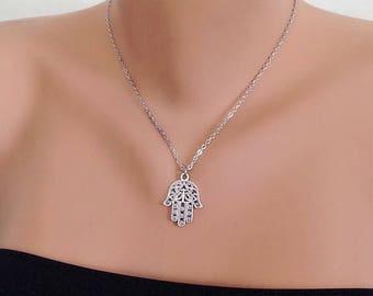 Small Hamsa Necklace, Fatma's Hand Charm , Antique Silver Hamsa Hand Necklace , Lucky  Necklace, Hand of Fatma Hand, Valentines Gift Jewelry