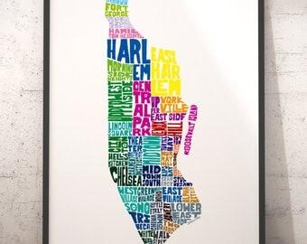 Manhattan art print, Manhattan map art, Manhattan typography map, map of Manhattan, Manhattan neighborhood map downtown, choose color & size
