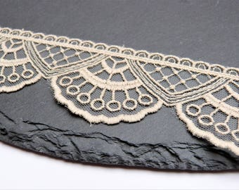 Stone / Putty / Ercru Coloured Embroidered Tulle Lace Trim 45mm Wide Per Metre