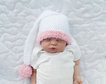 BABY GIRL HATS, Baby Boy Hats, Twin Baby Hats, Twins Crochet Baby Pink Stocking Hat, Crochet Blue Baby Stocking Hat, Knit Newborn Twin Gifts